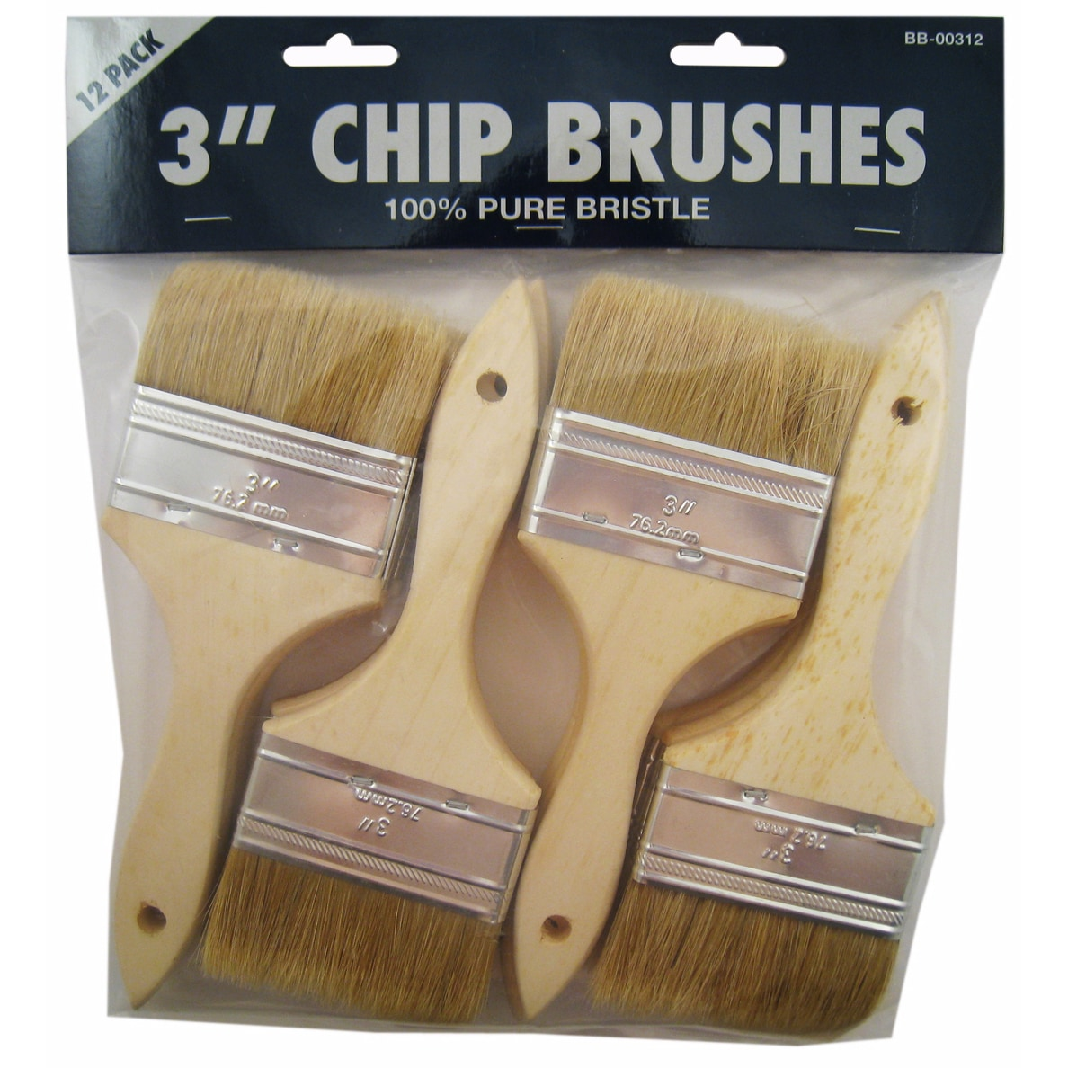 "Gam BB00312 3"" Chip Paint Brushes 12 Count"