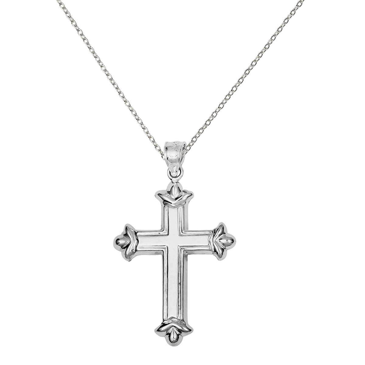 Sterling Silver Rhodium-plated Fleur-de-lis Cross Pendant