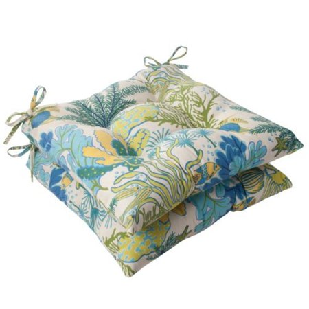 Pillow Perfect Splish Splash Blue Wrought Iron Seat Cushion - Set of 2 ()