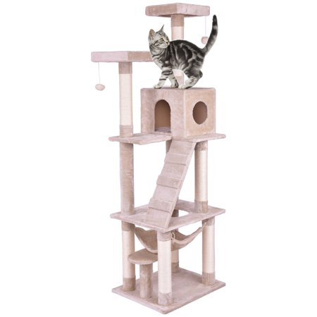 - Gymax Pet Cat Tree Play House Tower Condo Bed Scratch Post Kitten Pet House Tower