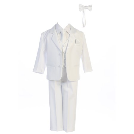 3f2b13a8f1e Boys White Dinner Jacket Vest Bow Tie Zipper Tie Shirt Pant Tuxedo