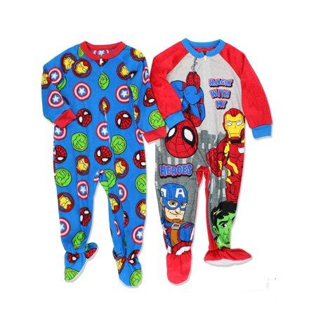 - Super Hero Adventures Avengers Boys 2 pack Fleece Sleeper Pajamas 21MZ027EBF