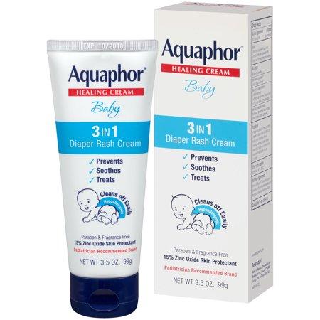 (2 Pack) Aquaphor Baby 3in1 Diaper Rash Cream 3.5 oz.
