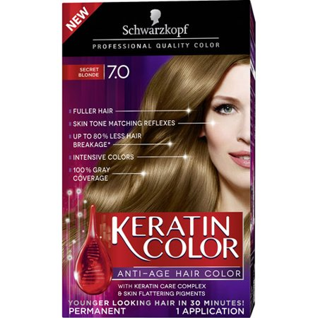 Schwarzkopf Keratin Color Anti-Age Hair Color Kit, 7.0 Secret Blonde for $<!---->