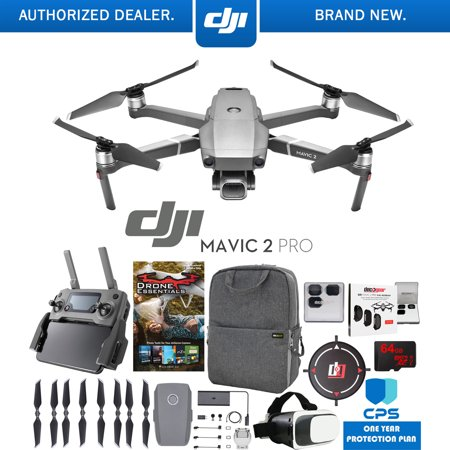 DJI Mavic 2 Pro Drone with Hasselblad Camera Pro Essential Bundle with Backpack Case, Multi Coated Filter Kit, VR Goggles, 64GB High Speed SDXC Card, Editing Software & 1 Year Warranty