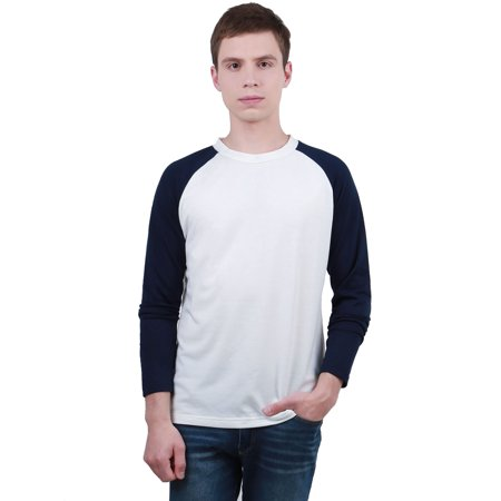 Men's Long Raglan Sleeve Color Block Regular Fit Casual Tee Shirt Color Block Raglan Tee