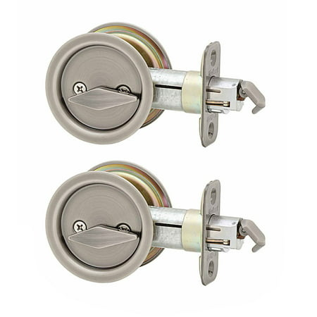 Kwikset 335 Bed Bathroom Privacy Lock Slide & Pull Door Lock, Brass (2 Pack)