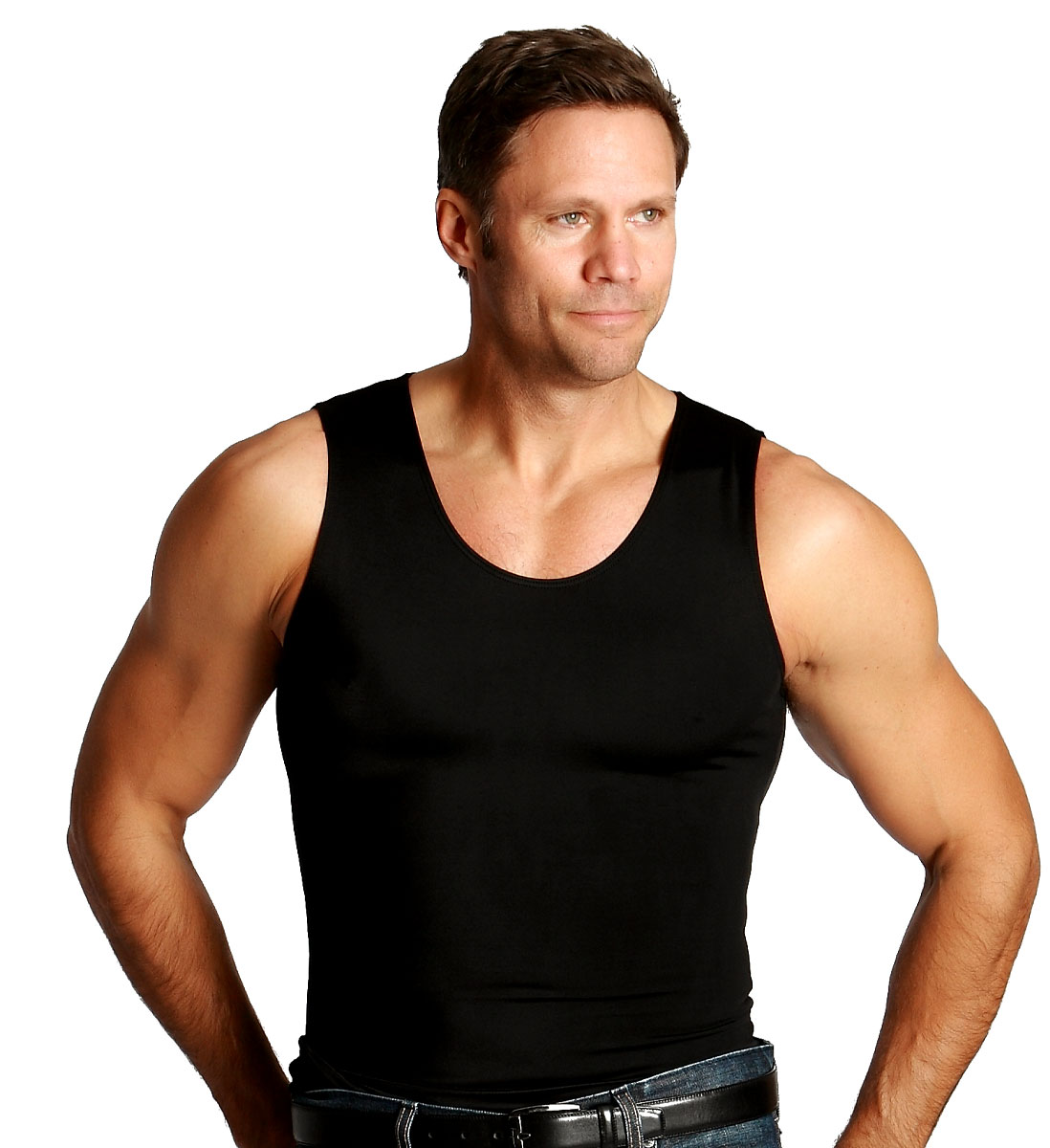 Insta Slim Men's Black Muscle Tank Firming Toning Compression Under Shirt (S)