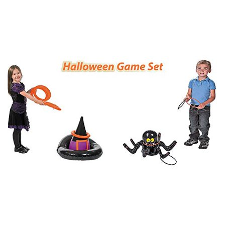Halloween Inflatable Ring Toss Party Game set, 1 Inflatable Witch Hat Ring Toss Game, with 1 Inflatable Black Spider Ring Toss Fun Creepy Spooky Game, By 4E's Novelty, - Fun Blaster Halloween Games