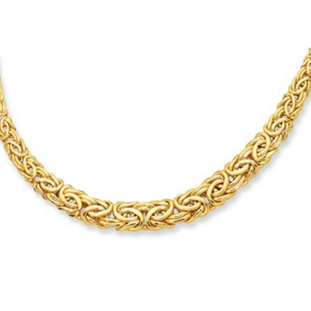 14 Karat Yellow Gold 17 Inch Graduated Byzantine Necklace 14k Byzantine Necklace