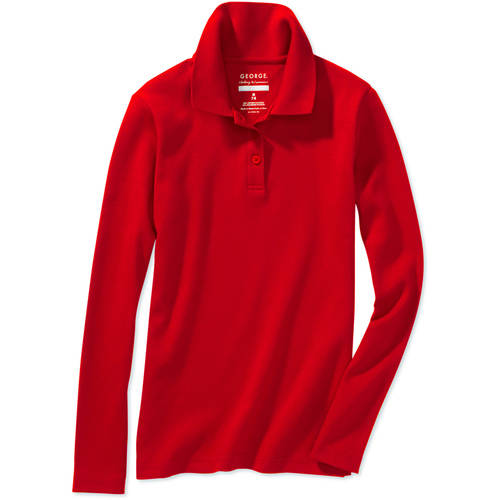 School Uniform Girls Plus Long Sleeve Polo with Scotchgard Stain Resistant Treatment