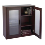 Storage Bookcase with Glass Doors 30-in. High - Mahogany