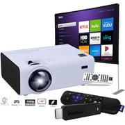 "RCA LCD Home Theater Projector RPJ136 + 100"" Screen + Roku Stick (Renewed) 3800XB"