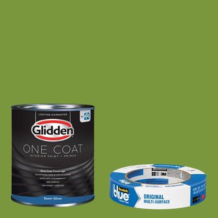 Glidden One Coat, Interior Paint + Primer, Antique Moss, Semi-gloss Finish, 1 Gallon with ScotchBlue Painters Tape Original Multi-Use, .94in x 60yd(24mm x 54,8m Bundle Antique Iron Semi Flush