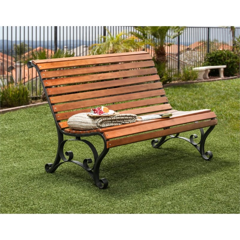Furniture of America Piers Slatted Patio Bench in Black