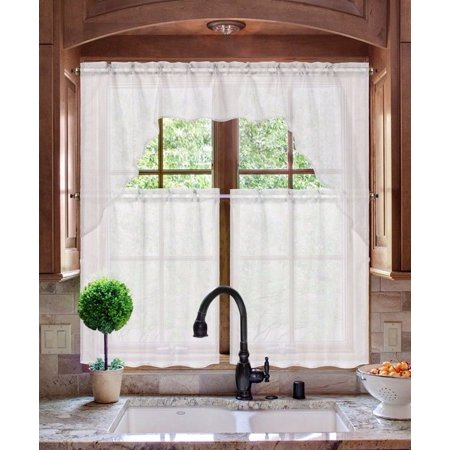 K66 WHITE 3-PC Luxurious Sheer Organza Kitchen Rod Pocket Window Curtain Treatment Set, Beautiful Solid Tier Panels with Matching Valance - Cute Mixed Girls With Swag