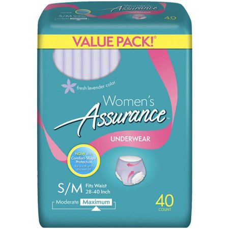 Assurance Incontinence Underwear For Women  Maximum  S M  40 Ct