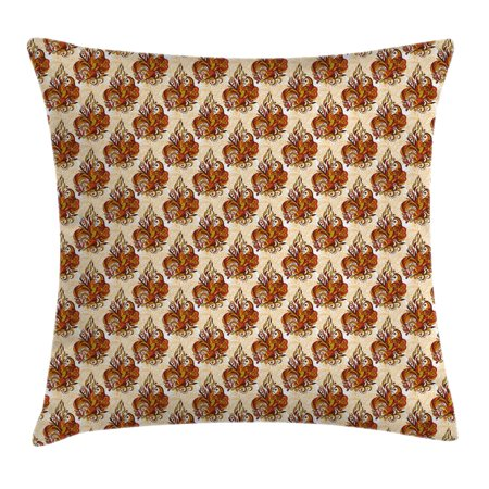 Batik Decor Throw Pillow Cushion Cover, Retro Cone-Shaped Mehndi Forms Ethnic Traditional Feminine Kitsch Art Print, Decorative Square Accent Pillow Case, 20 X 20 Inches, Orange Beige, by