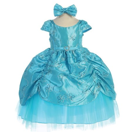 Baby Girls Turquoise Cinderella Embroidered Taffeta Dress 6 24M
