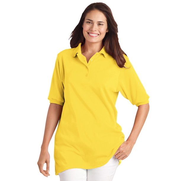 Woman Within Women's Plus Size Elbow-Sleeve Tunic Polo Shirt