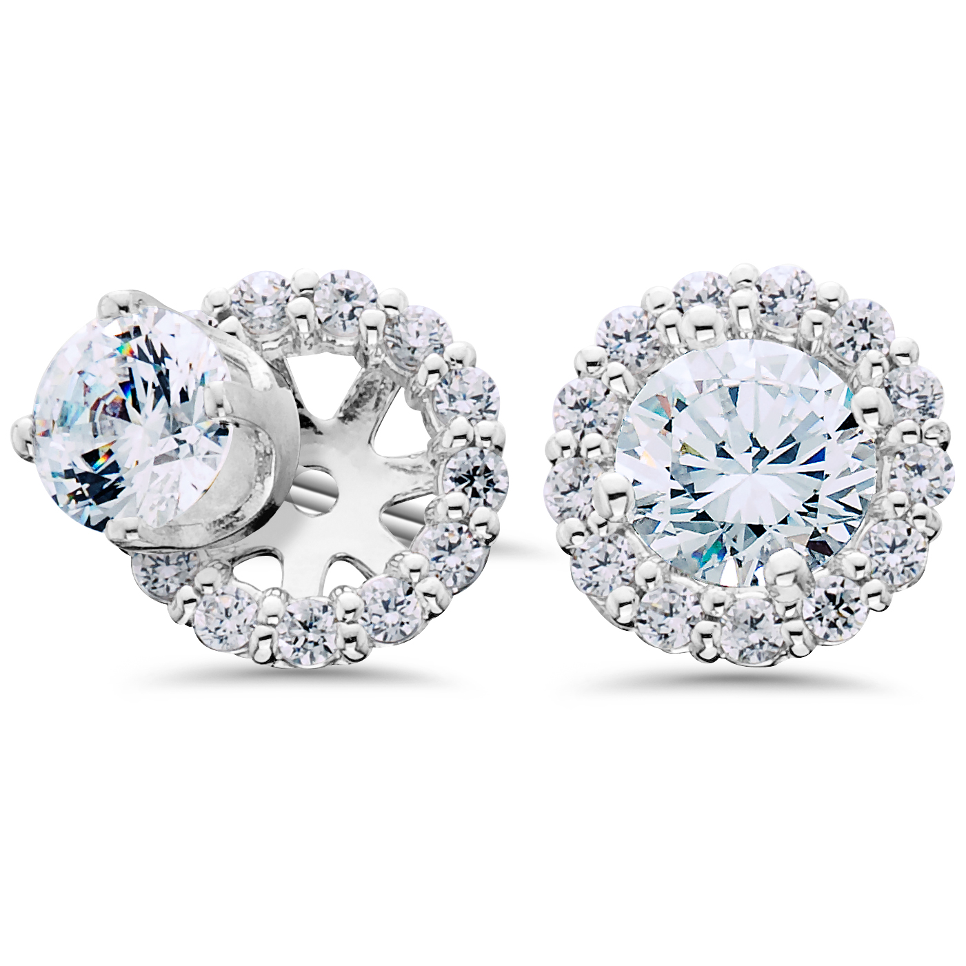 Women s 3 4ct Diamond Studs & Halo Earring Jackets Solid 14k White