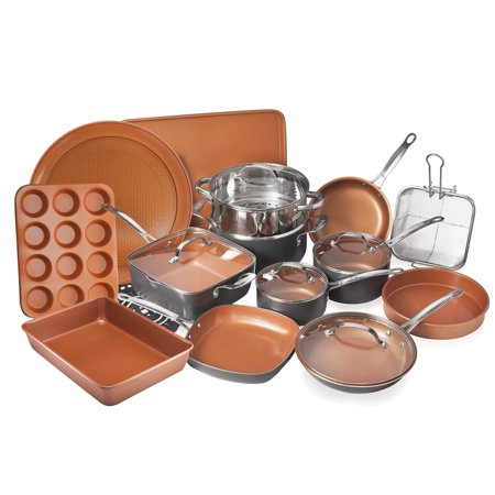 Gotham Steel 20 Piece All in One Kitchen Cookware + Bakeware Set with Non-Stick Ti-Cerama Copper Coating – Includes Skillets, Stock Pots, Deep Square Pan with Fry Basket, Cookie Sheet and Baking