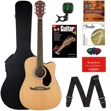fender fa 125ce dreadnought cutaway acoustic electric guitar bundle with hard case strap. Black Bedroom Furniture Sets. Home Design Ideas