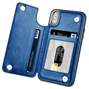 TekDeals Leather Flip Wallet Card Holder Case Cover For Apple iPhone 11, 11 Pro, 11 Pro Max, XS Max, XS, XR, X, 8, 7, 6, 6 Plus, 6S, 6S Plus, Blue