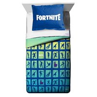Fortnite Full Comforter and 4 Piece Full Sheet Set with Throw