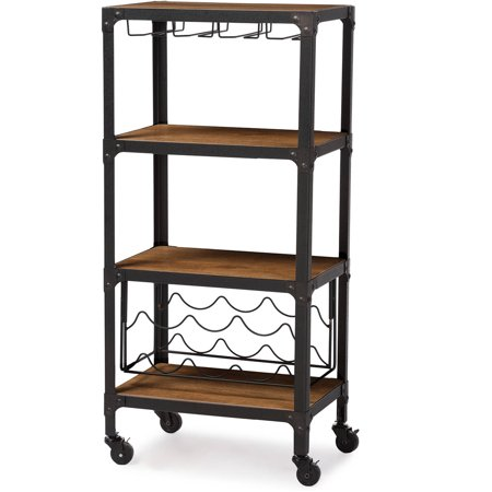 Baxton Studio Swanson Rustic Industrial-Style Antique Black Textured Finish Metal Distressed Wood Mobile Kitchen Bar Wine Storage (Antique Wood Bars)