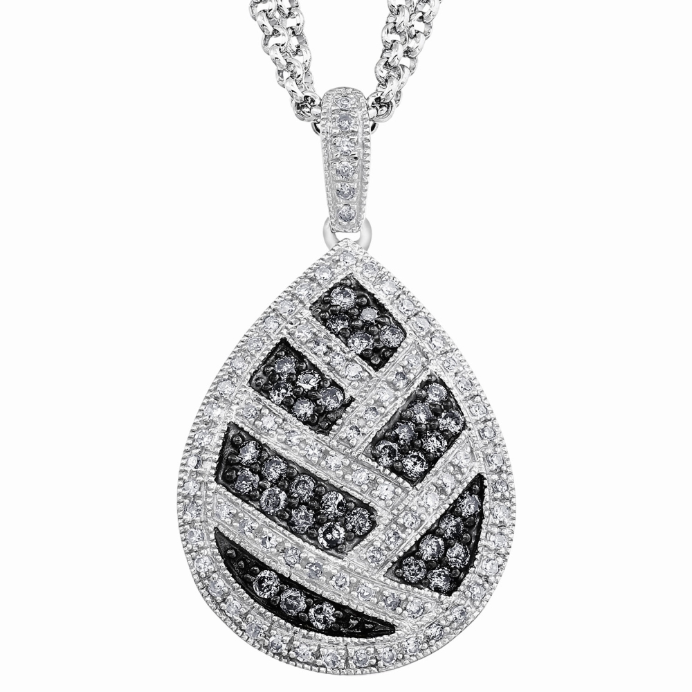 Diamond Pear Necklace in Sterling Silver (0.75 carats, H-I I1 and Grey Diamonds) by Diamond Direct LLC