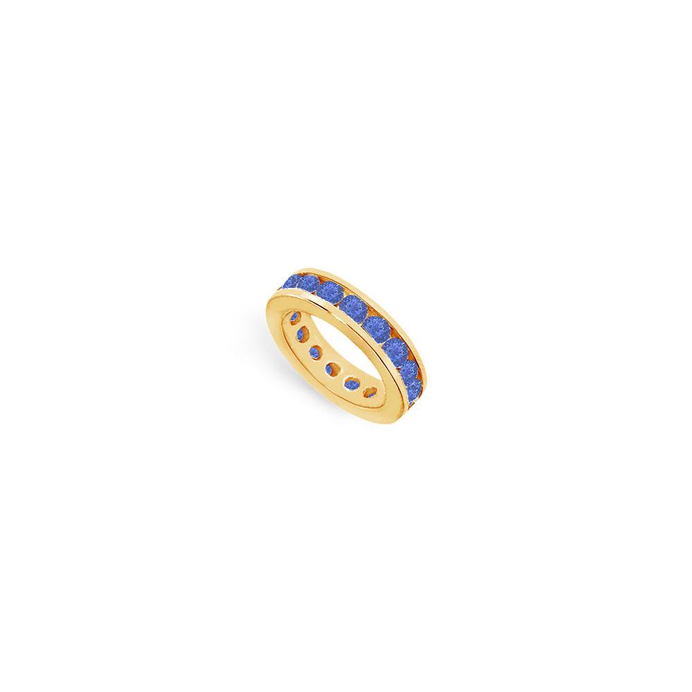 Created Sapphire Eternity Band 7 Carat Channel Set on 18K Yellow Gold Vermeil - image 2 de 2