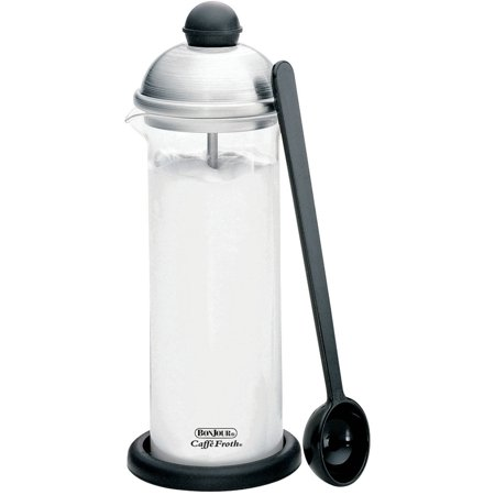 BonJour Coffee Glass and Stainless Steel Manual Milk Frother, 16-Ounce, Caffé Froth Monet