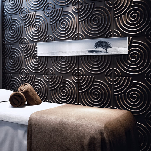 threeDwall Circles Brick Paintable 19.6' x 19.6'' Geometric 3D Embossed Panel Wallpaper (Set of 10)