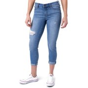 "Planet Pink Juniors' Super Stretch Double Rolled (26"" to 24"") Denim Capri Pants"