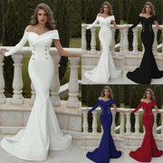 Womens Evening Cocktail Fishtail Dress Party Ball Gown Formal Wedding Bridesmaid