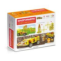Magformers Amazing Construction 50 Pieces, Wheels, Orange colors, Magnetic Geometric tiles STEM Toy Ages 3+