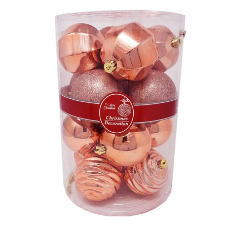 Christmas Festive Holiday Season Colorful Sparkling Shiny Ball Ornaments Set of 16pcs Mixed Rose Gold Set for Home, Office Xmas Decoration, Holiday, Party-Shatterproof,Thanksgiving,Gifts (16)