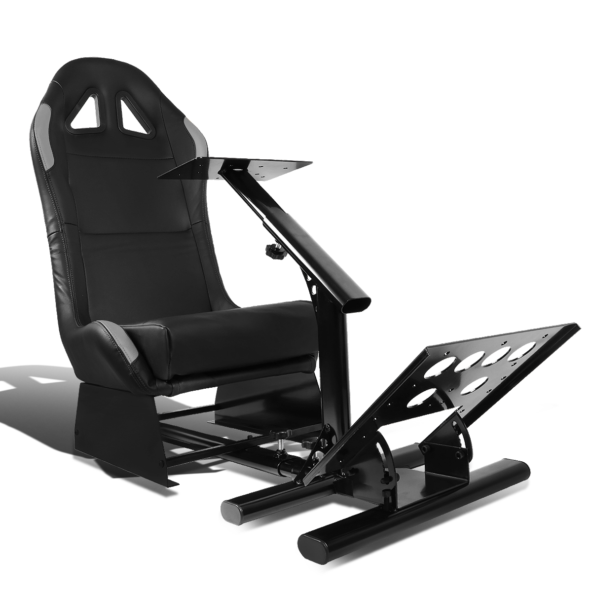Racing Seat Driving Simulator Cockpit Adjustable Gaming Chair + Steering Wheel / Pedal / Gear Shifter Mount (Green)