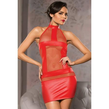 Allure Womens Wet Look Mini Dress