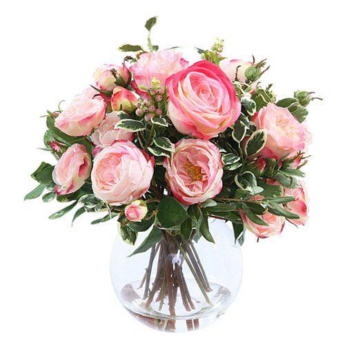 Jane Seymour Mixed Rose 17 in. Pink Silk Flower Arrangement