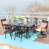 MF Studio Outdoor Patio 4pcs Dining Chairs, 2pcs Swivel Chairs and Rectangular Dining Table Furniture Set