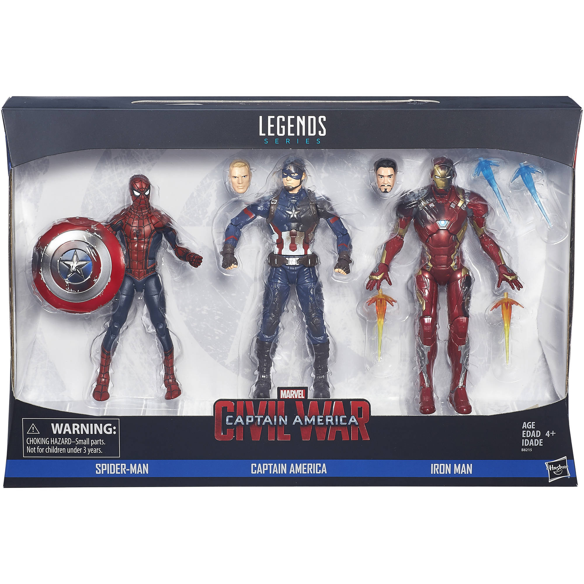 Marvel Legends 3 Pack Spider Man Captain America and Iron Man