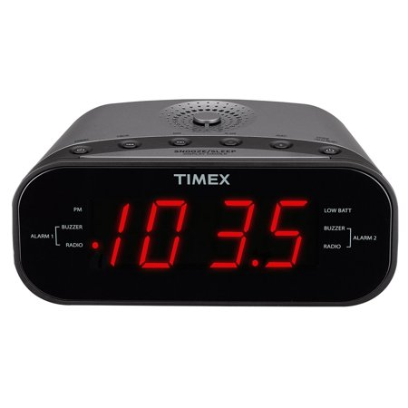Timex T231GY AM/FM Dual Alarm Clock Radio with 1.2-Inch Green Display and Line-In Jack (Gunmetal) (Manufacturer Refurbished)