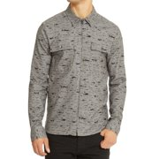 Reaction Kenneth Cole Mens Zip Front Printed Shirt