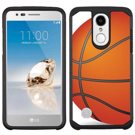 Hybrid Case for LG k20 Plus / LG K20-V / LG Harmony, OneToughShield ® Dual Layer Hybrid Bumper Phone Case (Black/Black Inner Layer) - Basketball