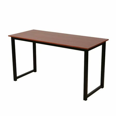 Rustic Iron Frame Wood Grain Veneer Surface High Density Board Table 55*24*29