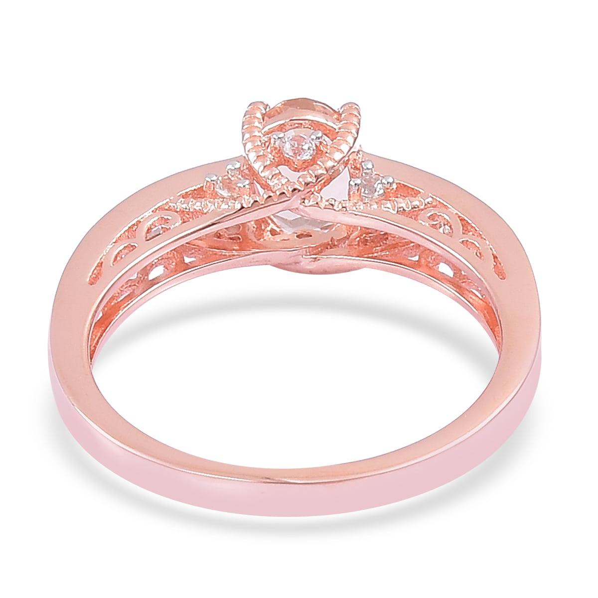 Morganite, White Topaz 14K Rose Gold Plated Silver Ring 1.6 cttw ...