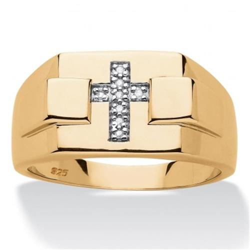 Palm Beach Jewelry 568089 Mens Diamond Accent Religious Cross Ring, 14k Gold Over Sterling Silver, Size 9