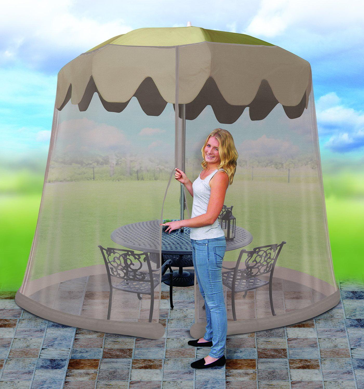 Outdoor 9 Foot Umbrella Table Screen, Grey, Cinch top adj...
